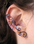 Blue and Yellow ear cuff