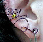 Maroon with Yellow ear cuff