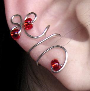 Red Tail Ear Cuff by lavadragon