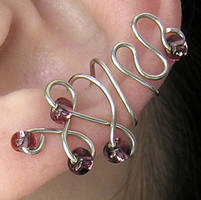 Purple Beaded Ear Cuff by lavadragon