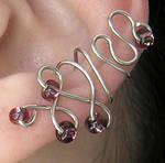 Purple Beaded Ear Cuff
