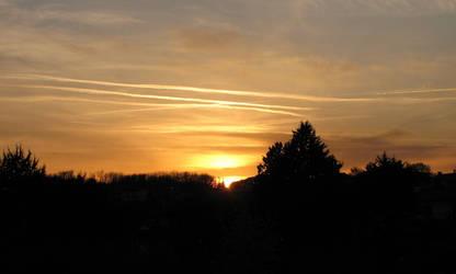 Sunset on a hill village by kirys79