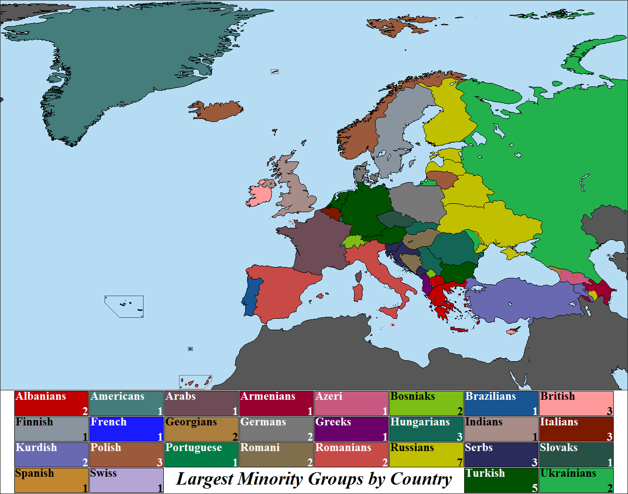Largest Ethnic Minorities by European Country 2013 by Iori ...