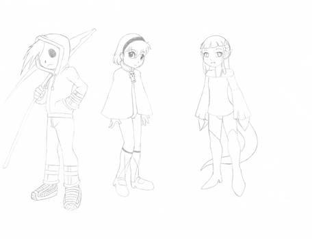 Grim Tales AU - Grim Jr., Minnie, and Mimi