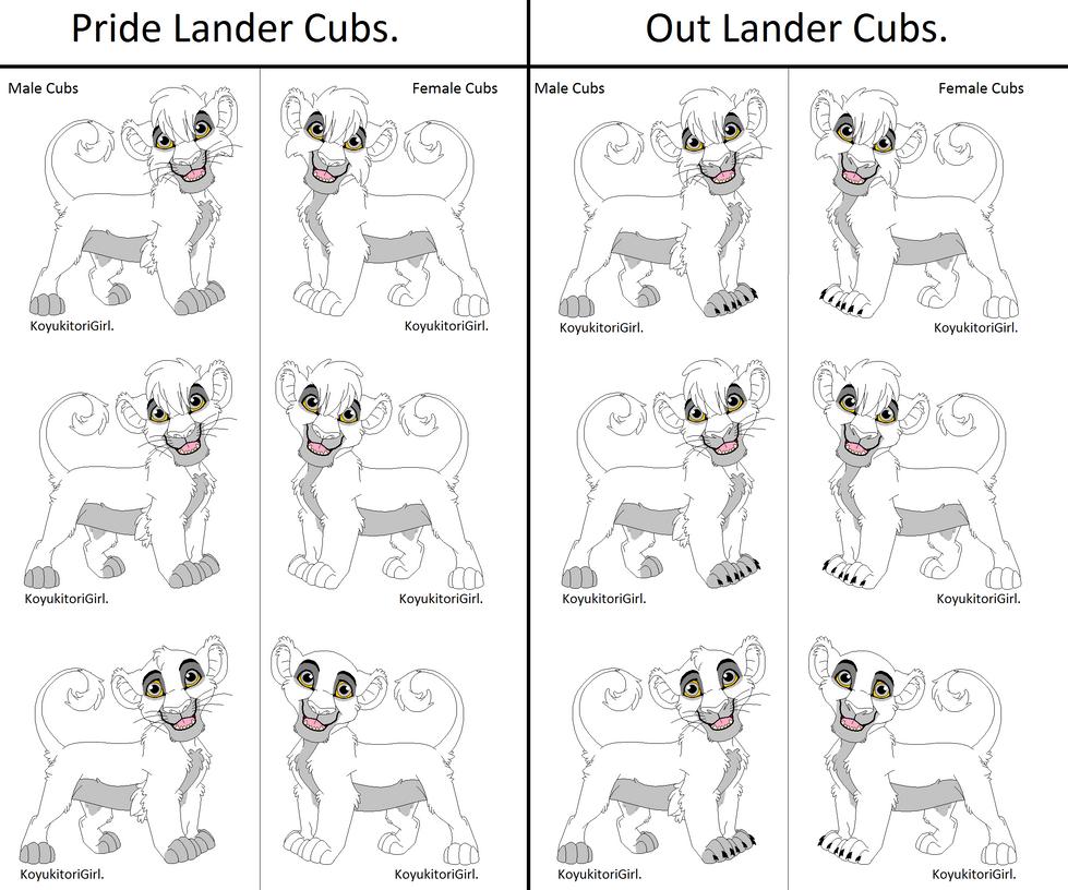 Pride Lander and Out Lander Cub Bases by KoyukitoriGirl