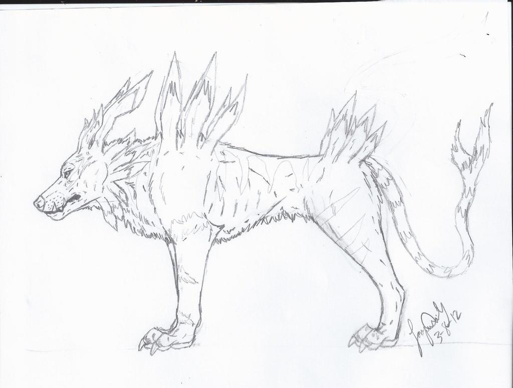 Garurumon Realistic Sketch by VorpalBeast