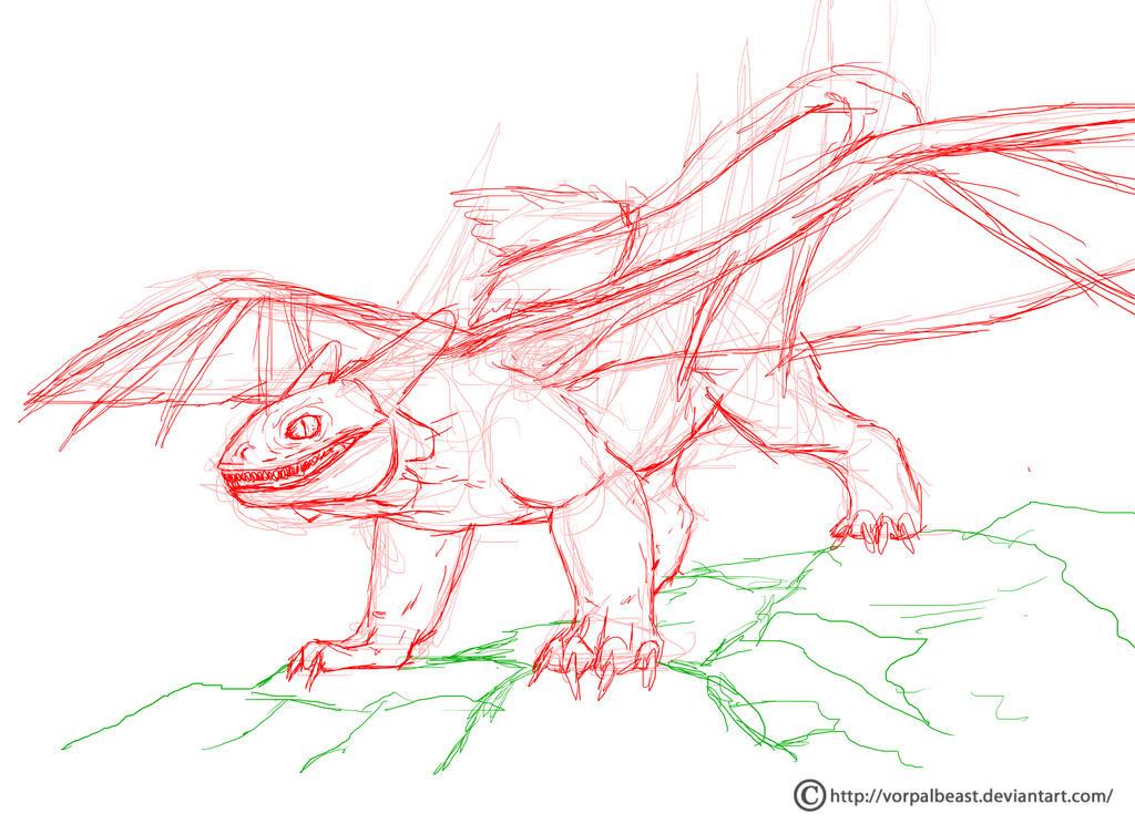 Toothless WIP basic sketch by VorpalBeast