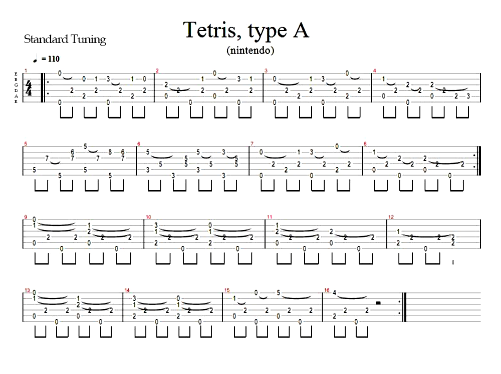 Tetris Theme A Guitar Tab Fingerstyle By Amadis33 On Deviantart