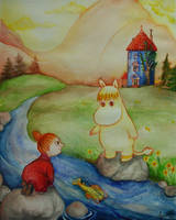 Moomin: Playing by the river by khossh