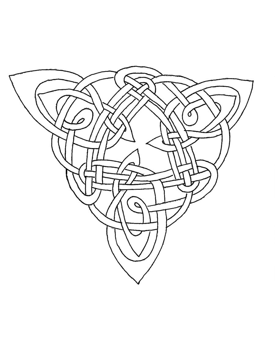 Celtic coloring triangle iv by artistfire on deviantart for Celtic knot mandala coloring page