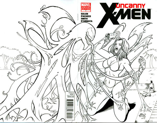 EmmaFrost vs Venom sketch cover by seanforney