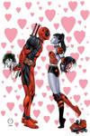 Deadpool and Harley Quinn kiss