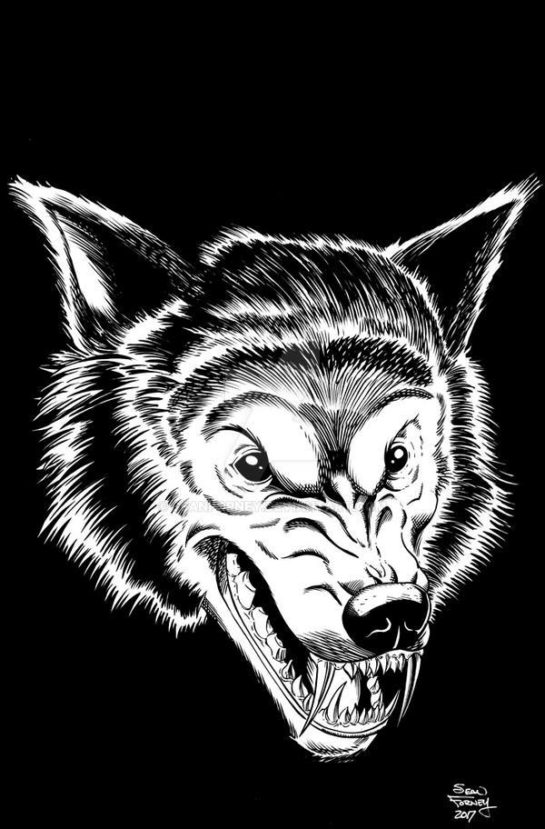 Werewolf head inks by seanforney