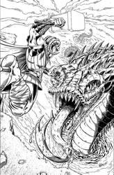 Thor vs Jormungand inks