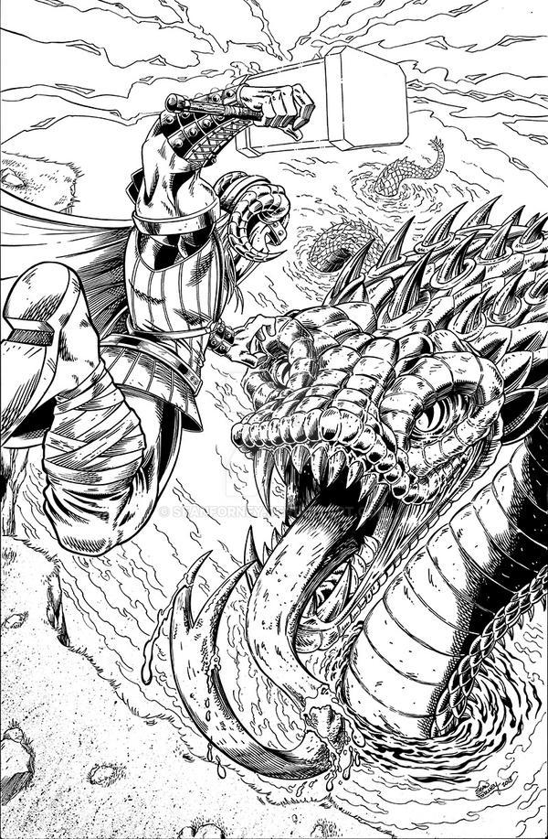 Thor vs Jormungand inks by seanforney