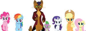 The Mane 5, Spike and Capper marching into battle
