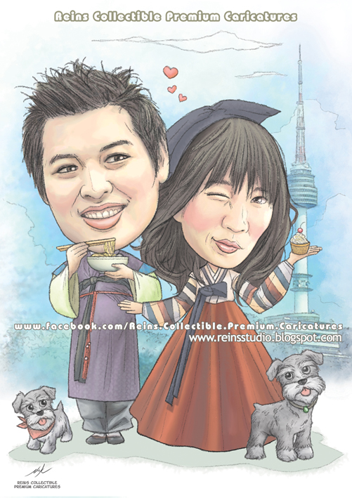 Korean Couple Premium Caricatures by Reinsstudio