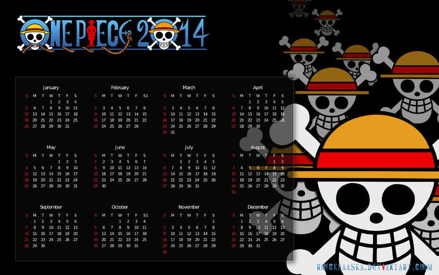 Calendar Art Piece : One piece calendar by rockbaaska on deviantart