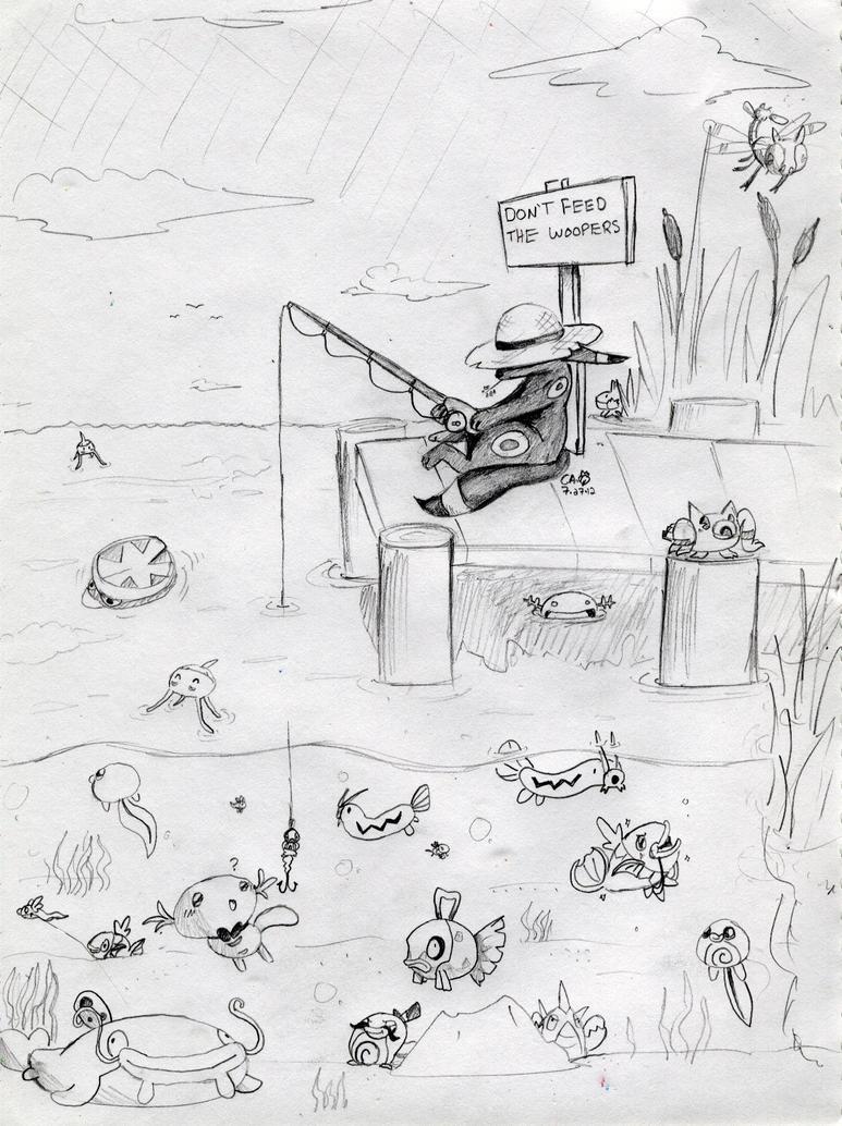 Umbreon GONE FISHING by CrazyIguana