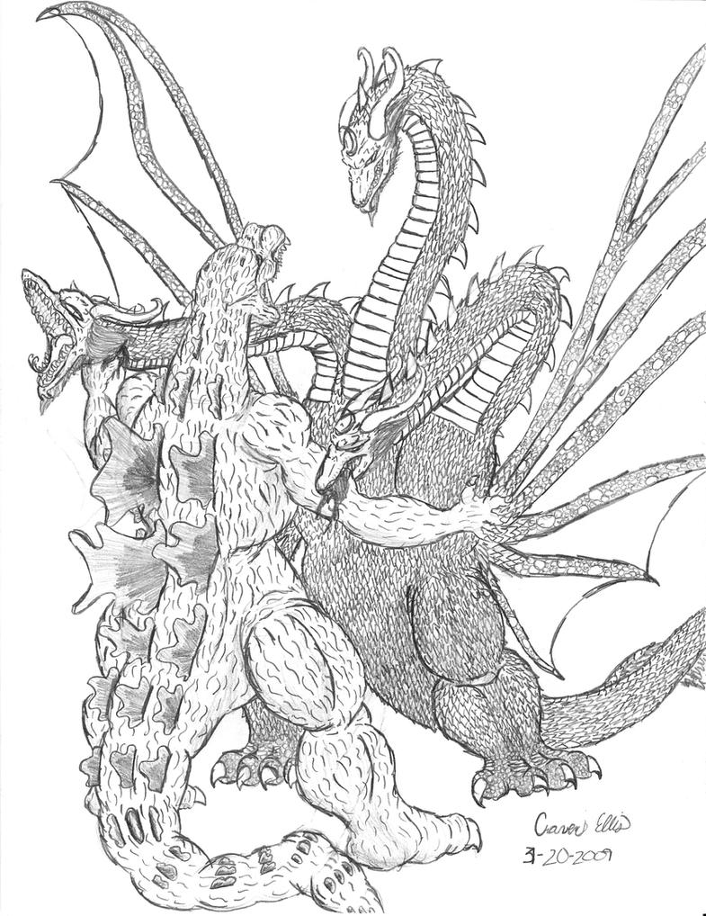Godzilla vs King Ghidorah by Irys-Cenobite on DeviantArt