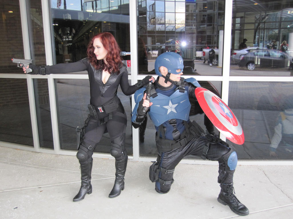 Captain America and Black Widow ready for action. by philorion7