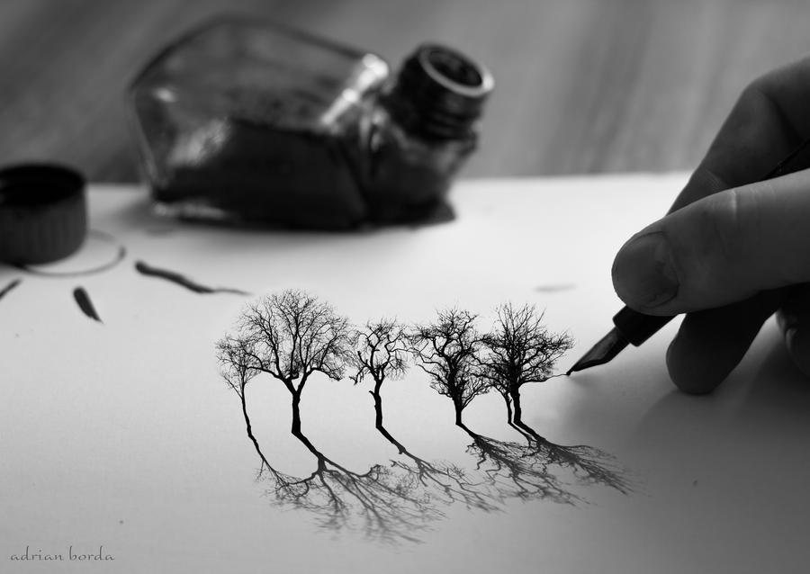 Ink on Blank Snow by borda