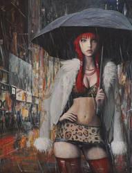 Prostitute in Paris - oil painting by borda