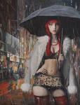 Prostitute in Paris - oil painting