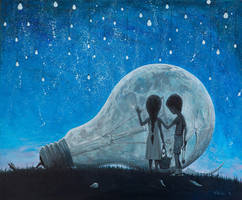 The night we broke the Moon - oil painting