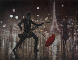 Life is A Dance in The Rain - oil painting