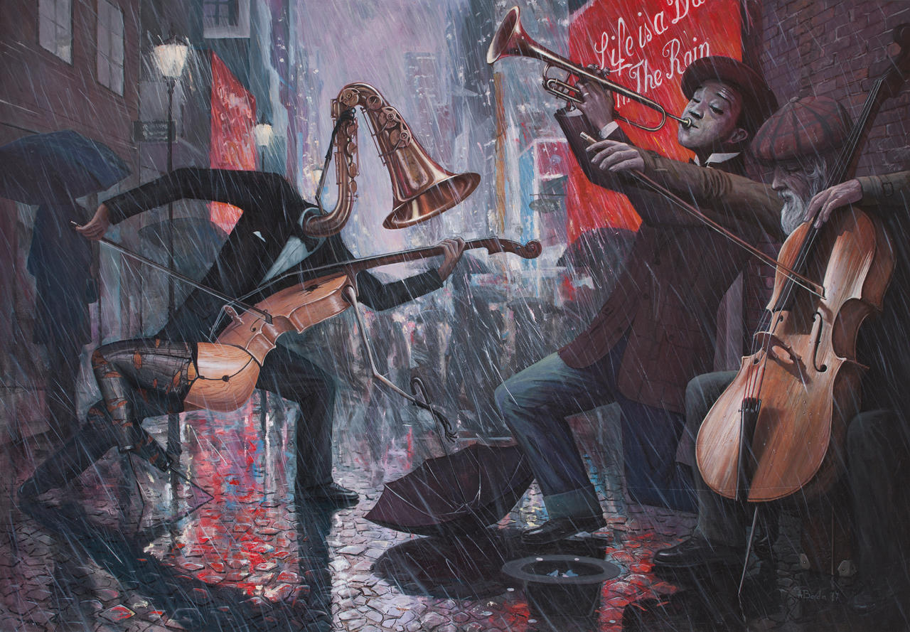 Learning to Dance in The Rain - oil painting