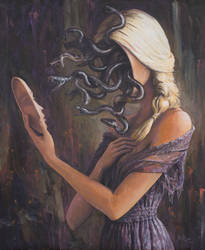 Facing Myself - oil painting by borda