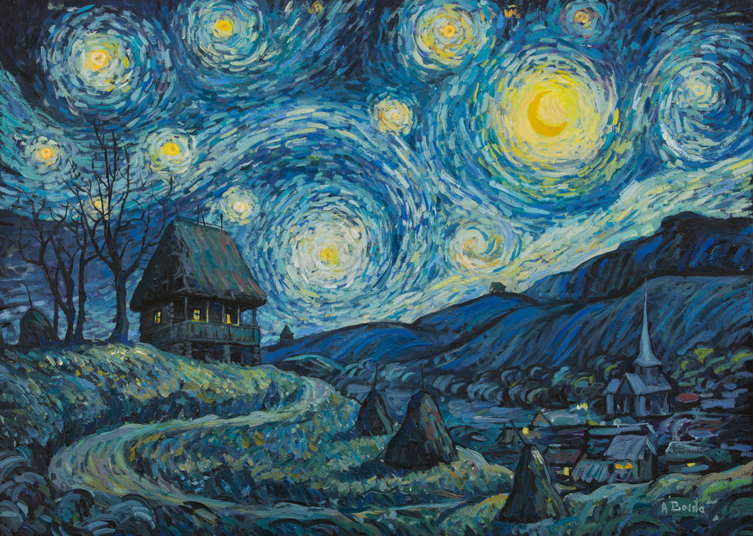 A romanian starry night - oil painting