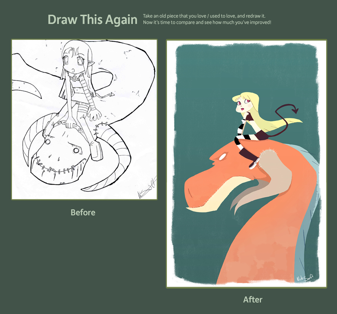 Draw this Again- Girl on Dragon by NickSwift