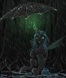 Chrysalis under rain