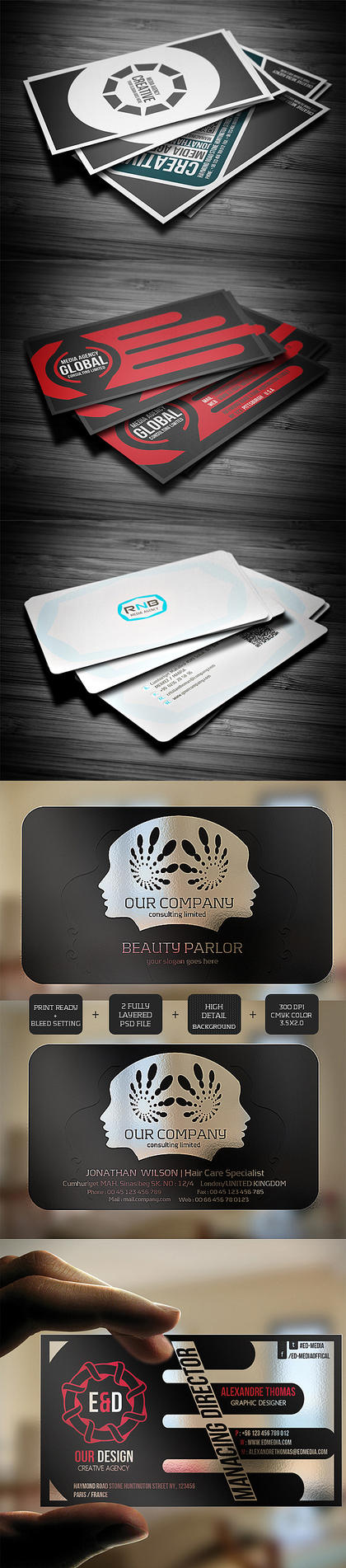 Business Card Bundle 5 in 1 by calwincalwin