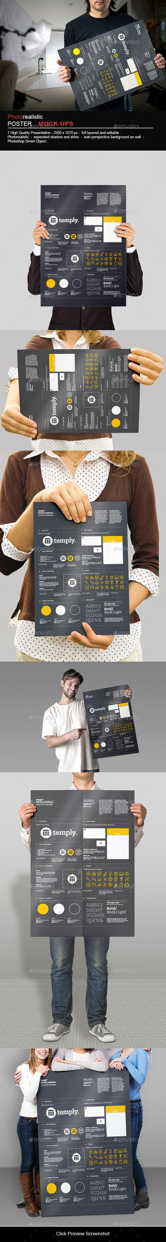 Poster Mock-Up Templates Photorealistic by calwincalwin