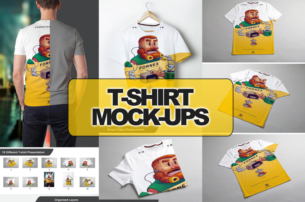 T-Shirt Mock-up 10 in 1 by calwincalwin