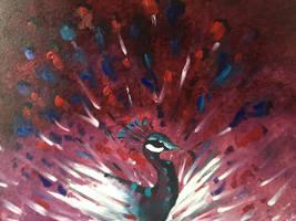 Paon, peinture  l huile
