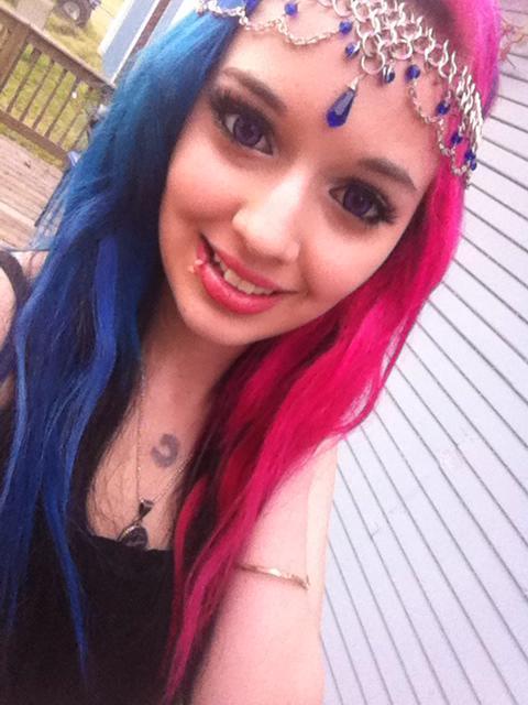 half pink half blue