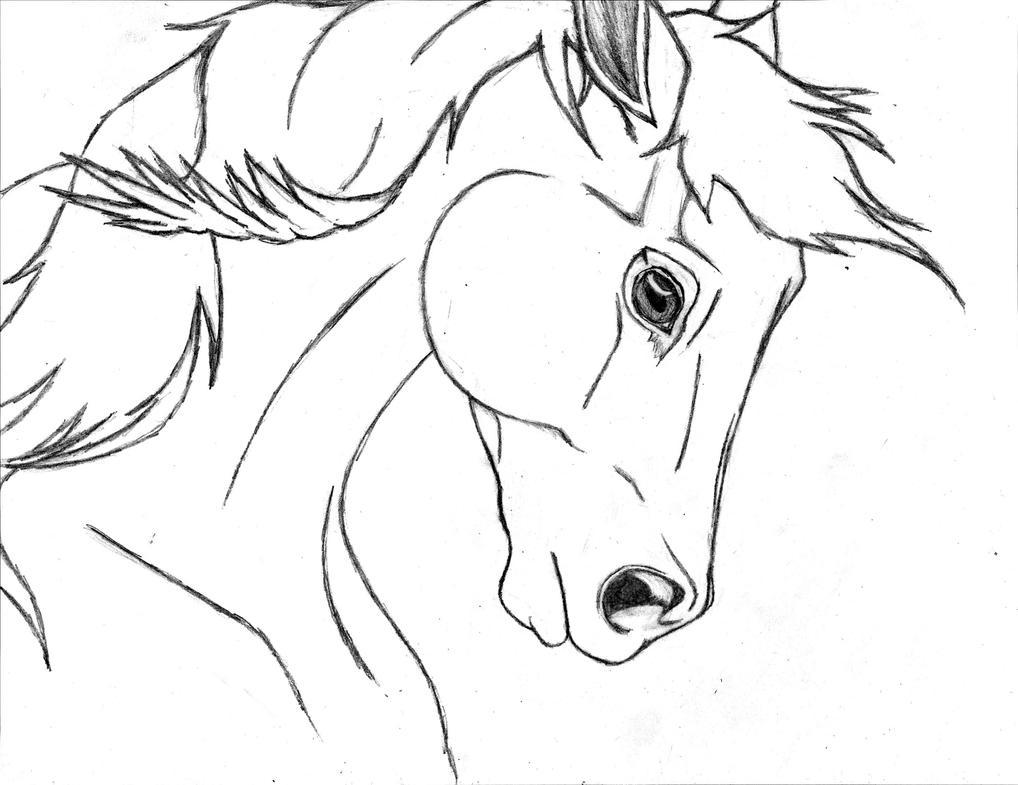 реалистичный рисунок головы лошади