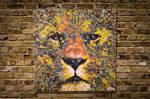 Spray paint art LION original multi color