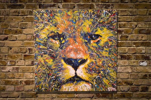 Spray paint art LION original multi color by colorpeoject