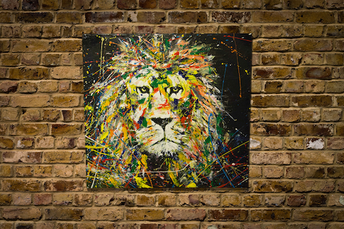 lion original spray paint art painted wood canvas by colorpeoject