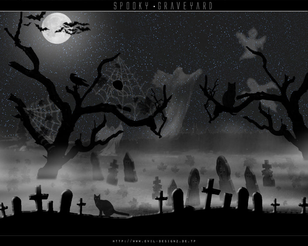 Pin Cemetery Spooky Halloween Background Scary Castle ...