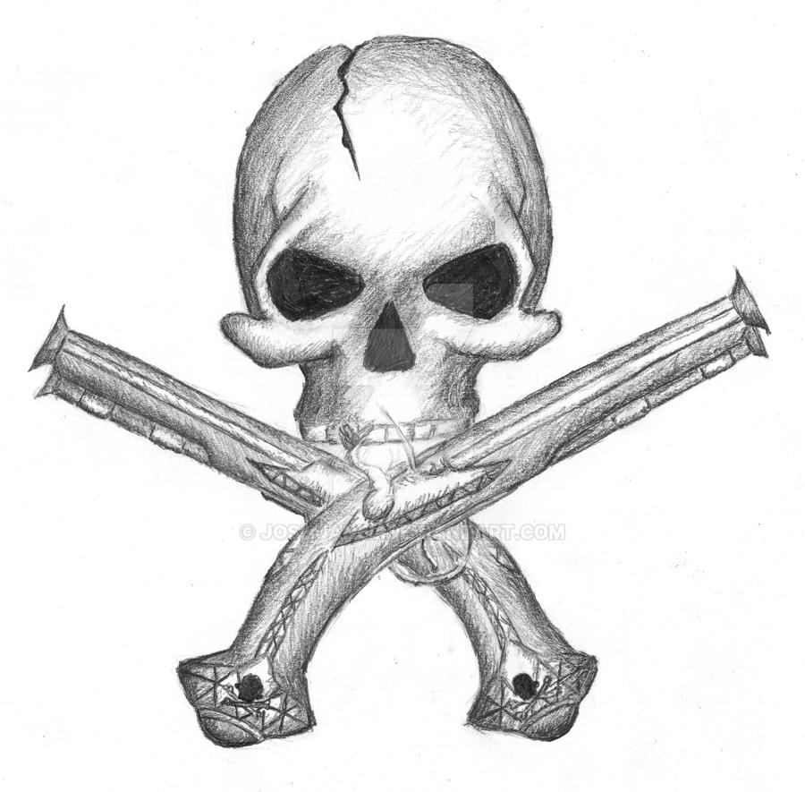 Drawings Easy Skull With Guns: Skull And Guns By JoshuaNel On DeviantArt