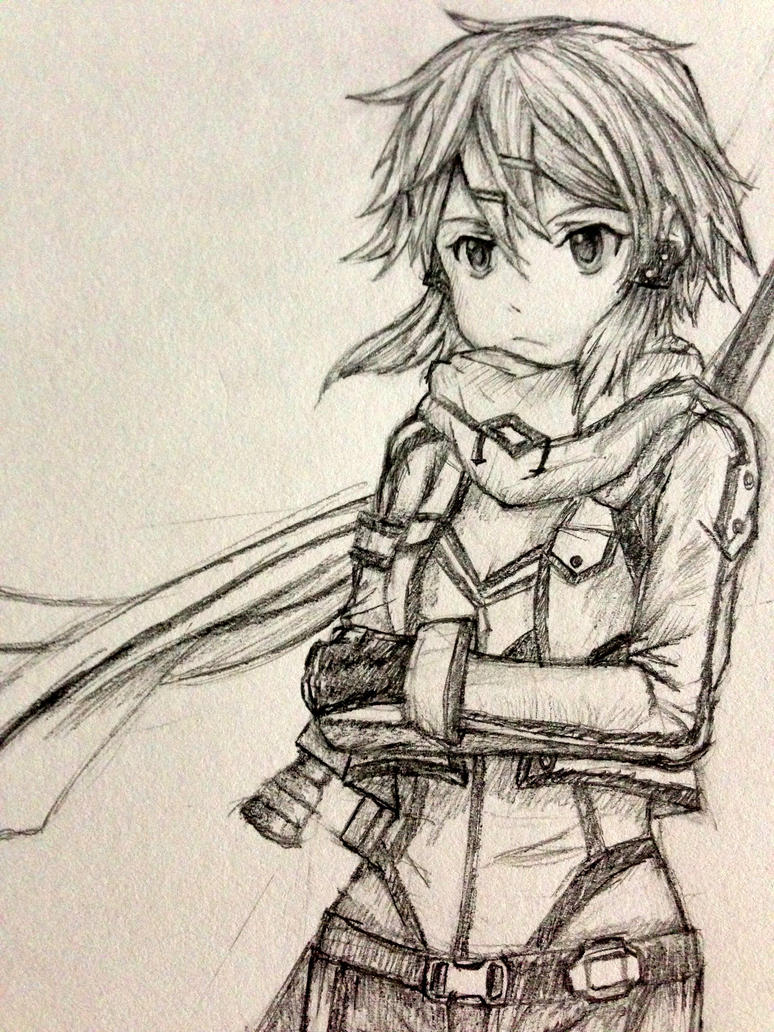 Sinon Pencil Sketch By Epizoder On DeviantArt