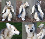 White Wolfman Plush Sculpture