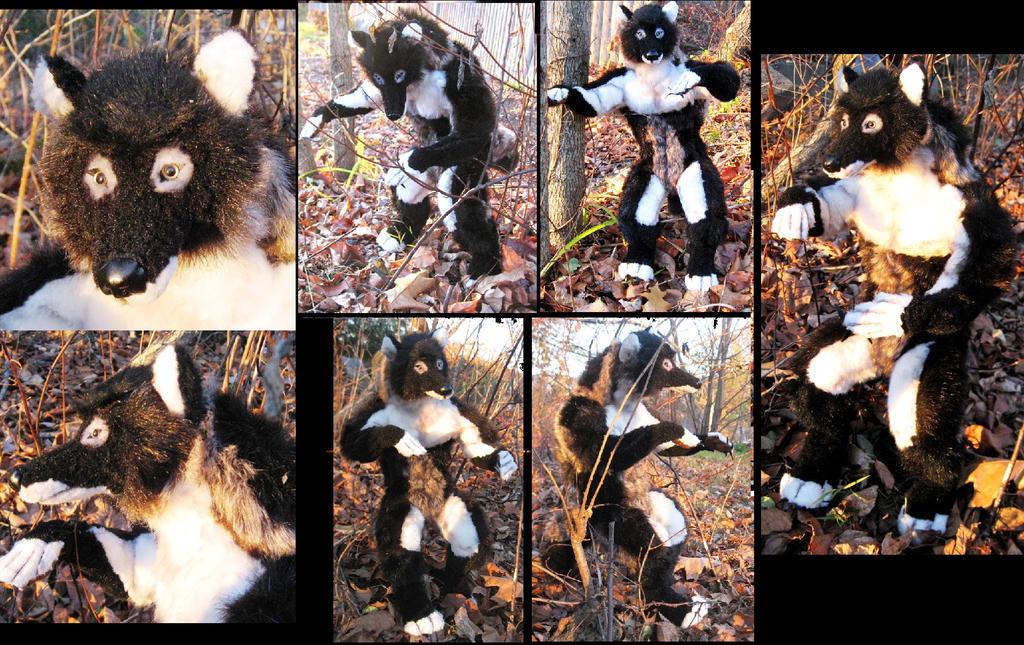 Anthro Wolf Soldier Black Anthro Wolf Plush Toy by