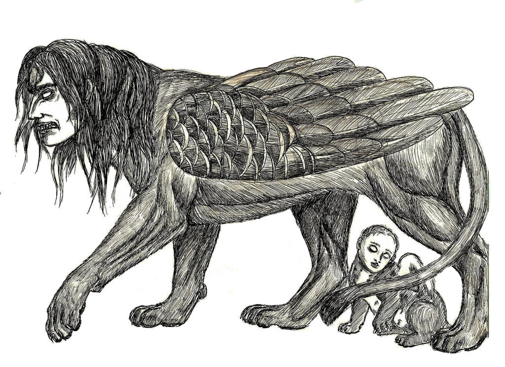 Greek Sphinx Drawing |...